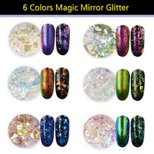 цена на 1 box DIY lucency Chameleon Magic Mirror Effect Flakes Multi Chrome Nail Powder Glitter Sequins Nail Art Gel Nail Polish