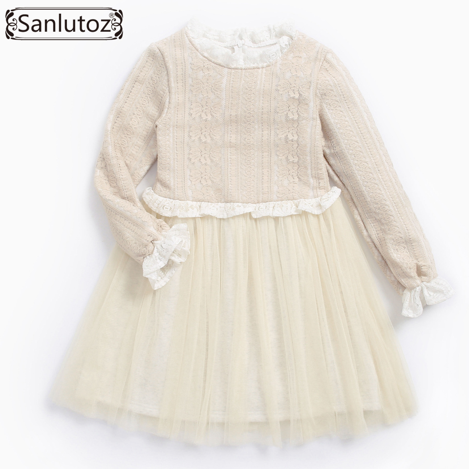 Sanlutoz Girls Dress Wedding Party Winter Girl Clothes Tutu Kids Dress Warm 2017 Toddler Brand Long Sleeve Lace Princess Fashion 2016 toddler flower girl dress winter children girl clothing autumn kid clothes brand long sleeve princess party wedding vintage