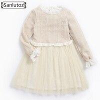 Sanlutoz Girls Dress Wedding Party Winter Girl Clothes Tutu Kids Dress Warm 2017 Toddler Brand Long Sleeve Lace Princess Fashion