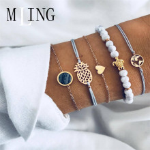 MLING 5 Pcs/Set 2019 Newest Pineapple Heart Black Stone World MapTurtle Adjustable Female Jewelry Boho Gifts