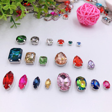 Hot Mixed Shape Pink Crystal Rhinestones For Clothes Diy Clear Sew On Beads Glass Decorative With Claw 50PCS/PACK