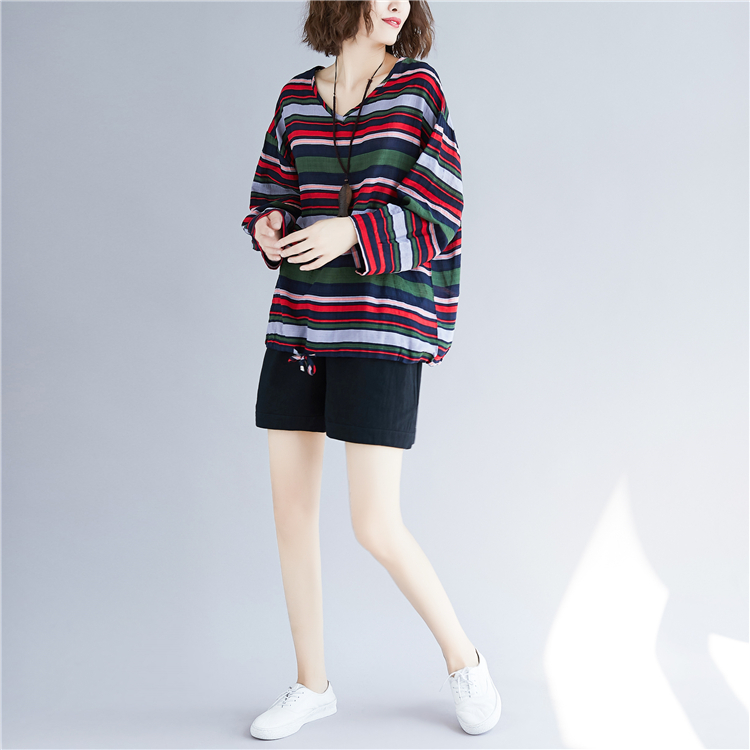 Doornot Oversized Striped Woman Tops & Tees V neck Long sleeve Ladies Tshirts Fashion Loose Drawstring Linen Women T-shirt 17