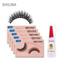 SHILINA 5 Pair/lot 3D False Eyelashes Natural Long Fake Lashes Mink Full Strip Black Eye Lashes Free Gift False Eyelash Glue