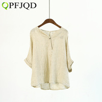 Retro Fashion Fall Summer Women S V Neck Bat Sleeve Stripes Cotton Pleated Shirts Linen Female