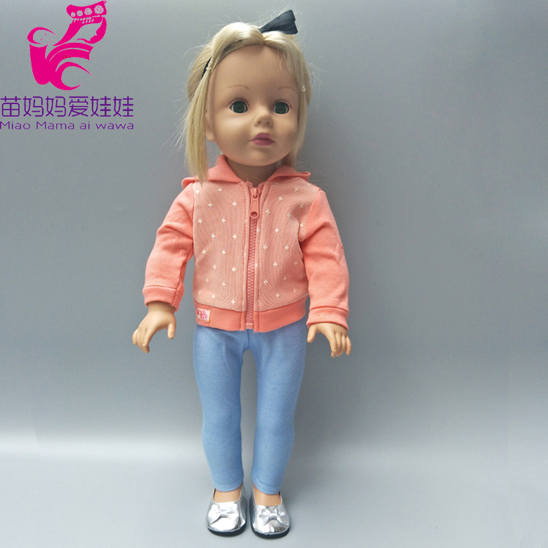 quality Zapf Baby born dolls jacket coat zipper Clothes pants suit for 18 inch american girl doll outwear sets fashion t shirt tie pants sneakers clothes for dolls 18 inch 45cm american girl and zapf baby born doll accessories