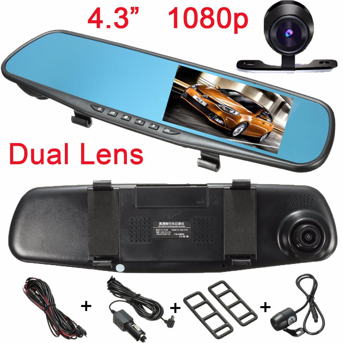 4.3 Inch HD 1080P LCD Dual Lens Car DVR Rearview Camera Ultra Thin Parking Night Vision Function Dash Cam