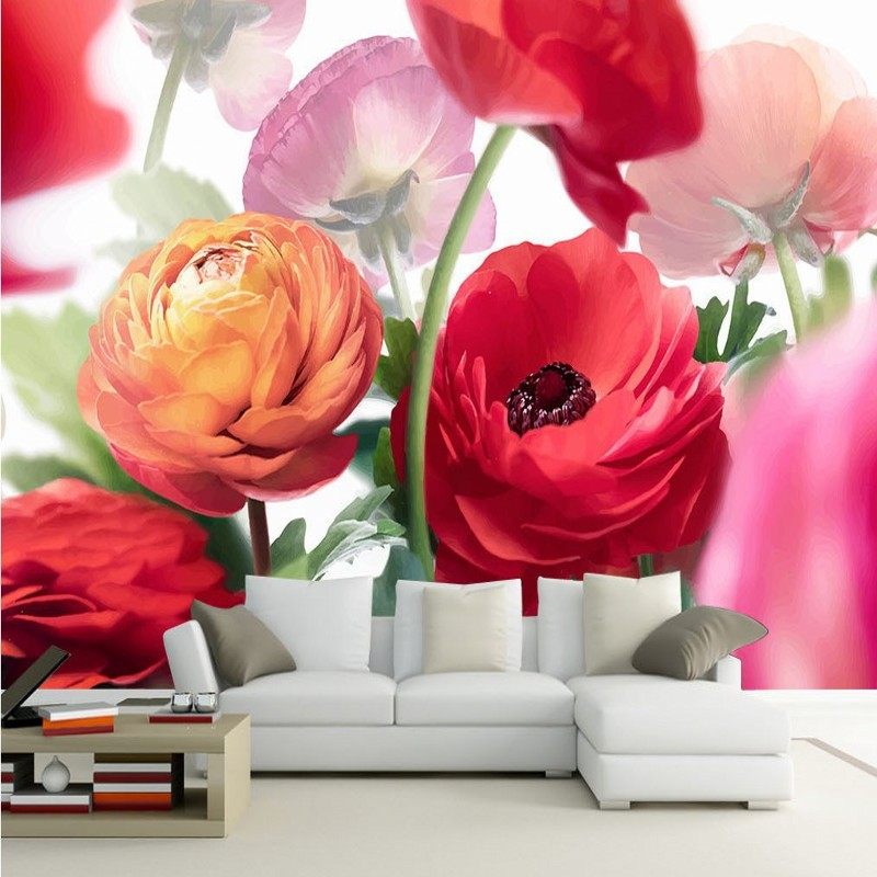 wallpaper for walls 3 d Modern design Colorful flowers wallpaper murals Living room balcony decoration background wallpaper for walls 3 d modern trdimensional geometry 4d tv background wall paper roll silver gray wallpapers for living room