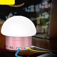 Eye Friendly Bedtime Mushroom Lamp Brightness Adjustable Led Lamp W 6 USB With Charging Port Touch