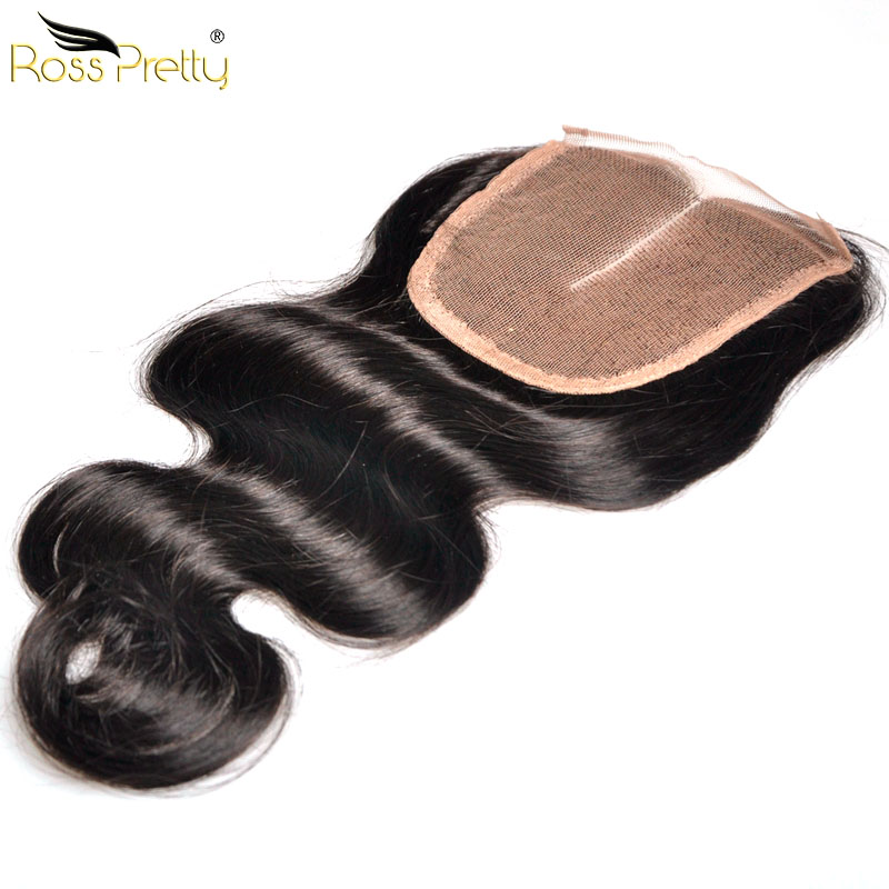 Ross Pretty Hair Lace Closure Peruvian Remy Hair closure human hair Peruvian body wave Middle part and 3Part 4x4 Swiss Lace