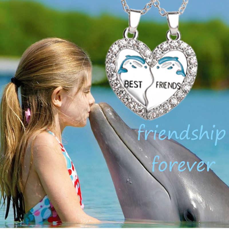 Cá Heo Xanh BFF Vòng Cổ Nhất Bạn Bè Dây Chuyền Đá Trái Tim 2 Động Vật Pha Lê Dành Cho Các Đời Bestfriend Tình Bạn Mãi Mãi