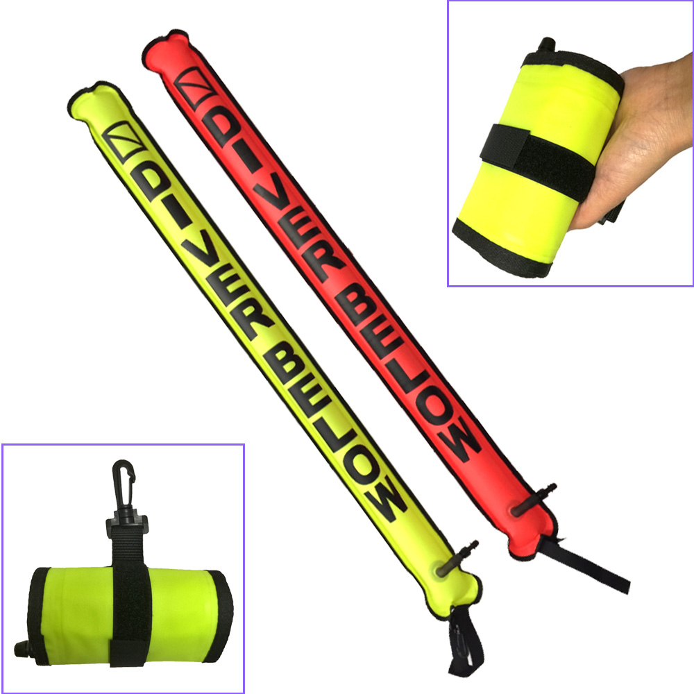 110cm Spearfishing Snorkeling Scuba Diving Surface Marker Buoy SMB Signal Tube Safety Sausage SMB Gear
