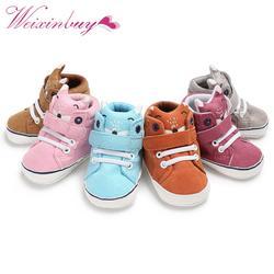 1 пара Осень детская обувь для мальчиков и девочек лисьей головы кружева хлопчатобумажной ткани Впервые Уокер против скольжения Мягкая