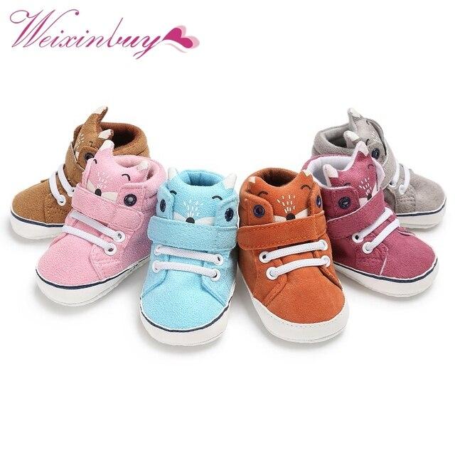 576edaf0217f8 1 paire Automne Bébé Chaussures Enfant Garçon Fille Renard Tête Dentelle  Coton Tissu Premier Marcheur Anti