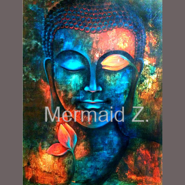 Delightful High Quality Hand Painted Modern Multicolored Buddha Head Canvas Oil  Painting For Living Room Home Decor