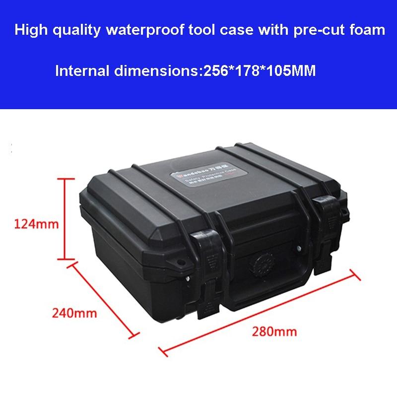 Caja protectora a prueba de agua Caja de herramientas Caja de herramientas resistente al impacto 280 * 240 * 124 mm Equipo de herramientas Caja de cámara con espuma precortada