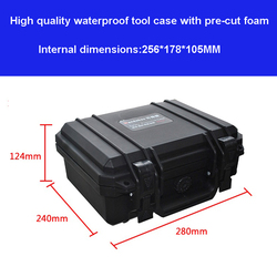 waterproof protective Tool case toolbox Impact resistant 280*240*124mm security tool equipment camera box with pre-cut foam