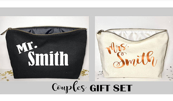 Personalised Names Couples Travel Wedding Gift Make Up Wash Cosmetic