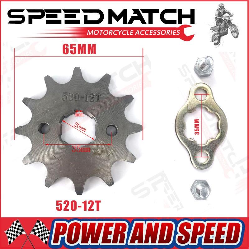 Piñón del motor delantero 520 #10 t-T 17 T 12 13 dientes 20mm para 520 cadena con placa Locker motocicleta Dirt Bike Pit Bike ATV Quad partes