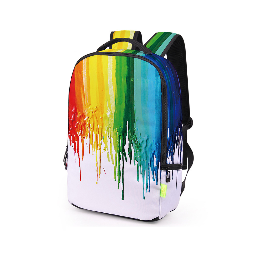 Multi-Color Young Boy And Girls Watercolor Ink Printing School Bags Women Fashion Graffiti Travel Rucksacks Unique Backpacks
