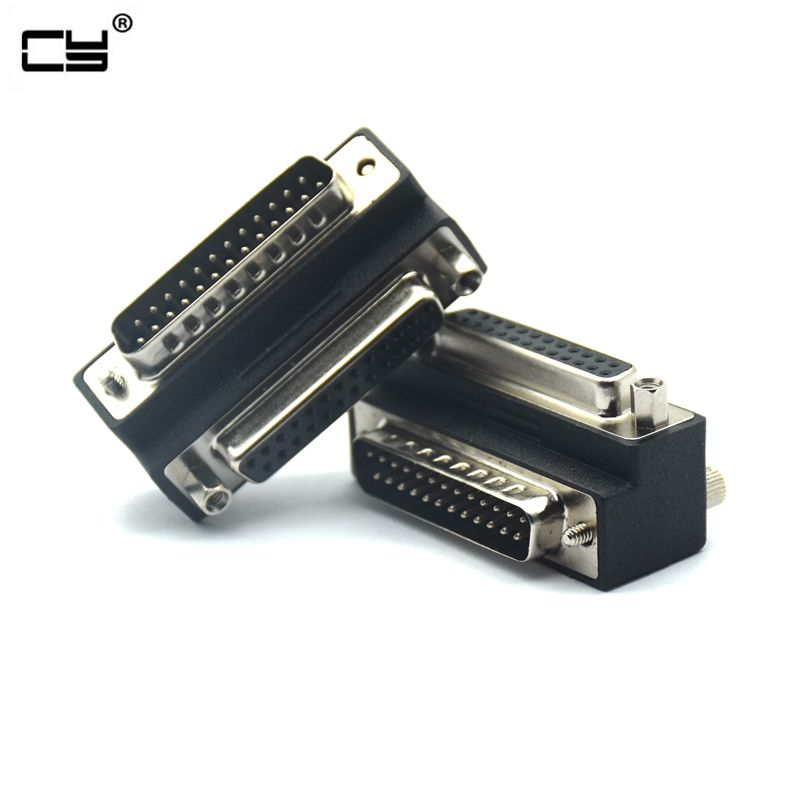 <font><b>90</b></font> Degree Right Down Angled DB25 <font><b>25</b></font> Pin Male to Female Extension Parallel connector Adapter for IEEE 1284 Printer image