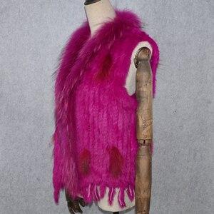 Image 5 - 2020 Hot sprzedaż Party kobiety prawdziwe futro z królika kamizelka dzianiny frędzle prawdziwe prawdziwe futro z królika kamizelka prawdziwy kołnierz z futra szopa kamizelka