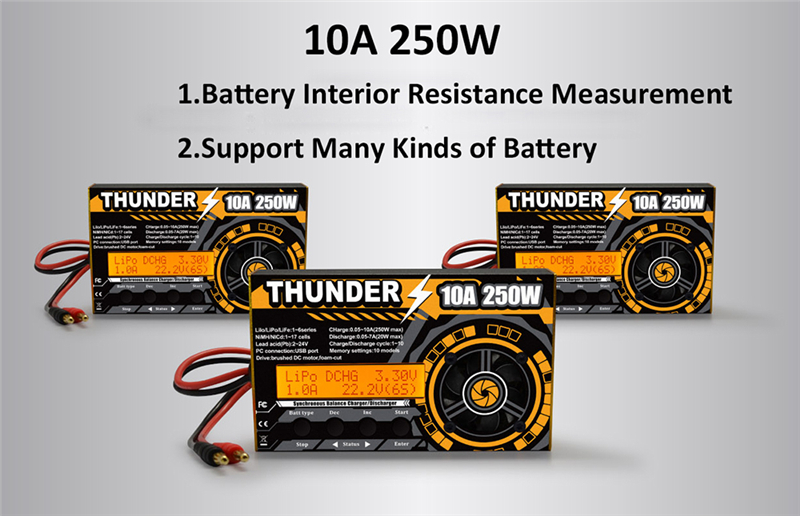 New Arrivals HOTA Thunder 250W 10A DC Balance Charger Discharger For LiPo NiCd PB Battery