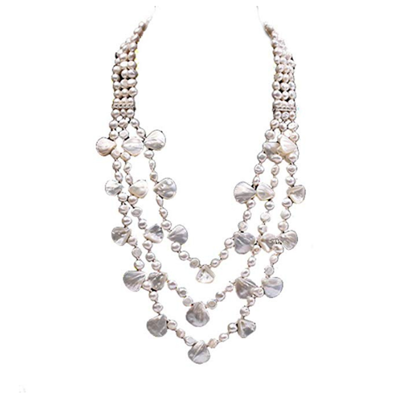 JYX Pearl Triple Strand Necklace 6-9mm Oval White Freshwater Cultured Peal Necklaces women jewelry special style new year giftJYX Pearl Triple Strand Necklace 6-9mm Oval White Freshwater Cultured Peal Necklaces women jewelry special style new year gift