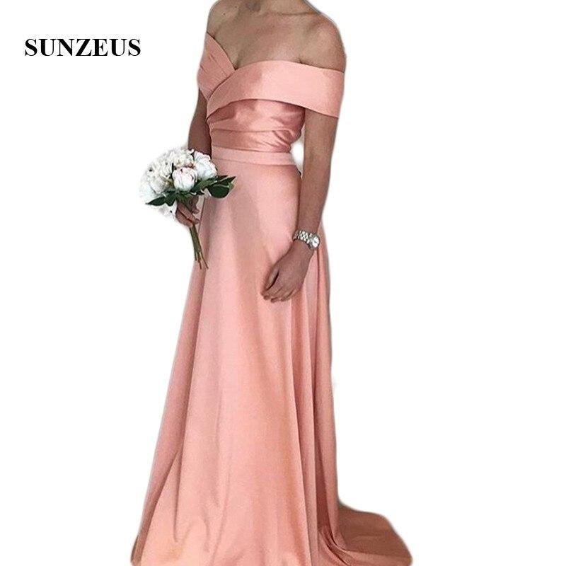 A-line Short Sleeve Long   Bridesmaid     Dresses   Off Shoulder Satin Wedding Party Gowns Robe De Soiree SAU921
