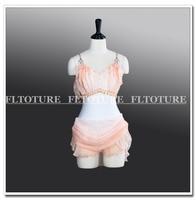 Для девочек Купальник с шифоновая юбка сценические костюмы для взрослых катание балетная Одежда для танцев Одежда для сцены оранжевый цвет