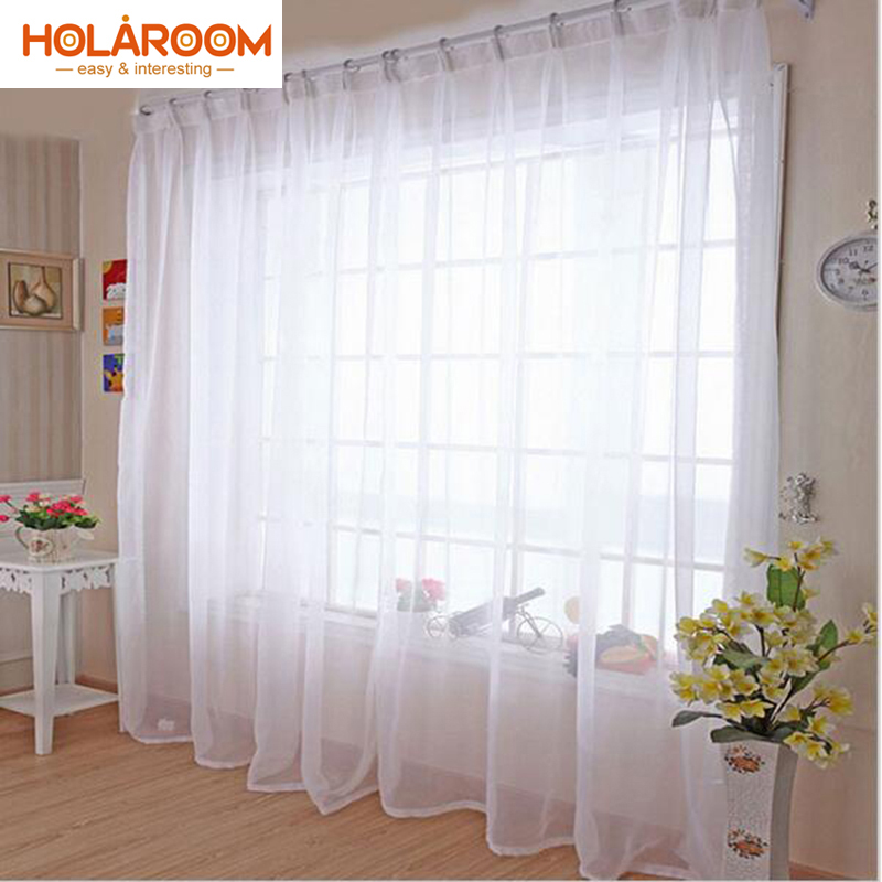 Pure Color Lily Lint Curtain White Kitchen Tulle Curtains For Home