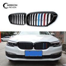 for BMW 5 series Front Grille G30 G38 Kidney Bumper M5-Style G31 Grill 1 Slat ABS M color 2017 2018 for bmw g30 m5 style kidney abs plastic black and m colour auto car styling front racing grill grille for bmw g30 new 5 series