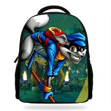 14inch Classic Game  PC Game Sly Cooper Printing Backpack Boys School Backpacks Little Children Bagpack Kids Cartoon Mochila