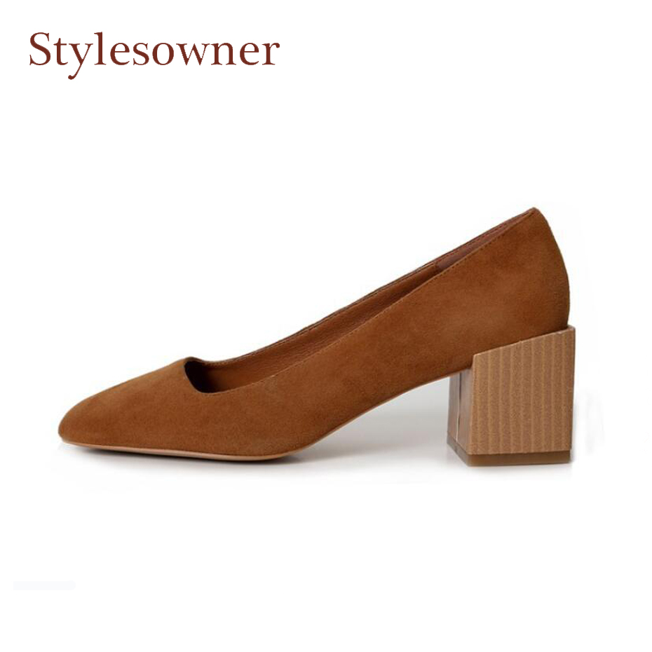 Stylesowner 2018 spring summer new suede leather square toe women pumps shallow mouth 6cm chunky heel lady dress party shoes 2018 spring summer new women s pumps scrub sheepskin flowers rhinestone coarse high heel shallow mouth craft shoes