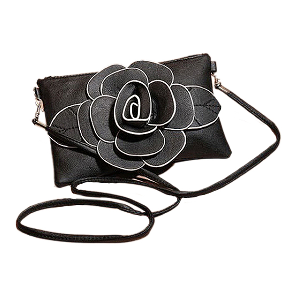 Fashion Boutique New Women Girls PU Leather Rose Floral Clutch Small Bag Shoulder Ladies Party Handbag 1