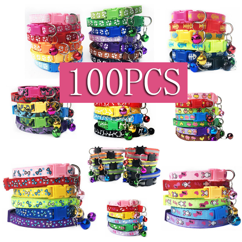 Wholesale 100 X Adjustable Pet Collars With Bell Charm Necklace Collar Pet Dog ID Tags For