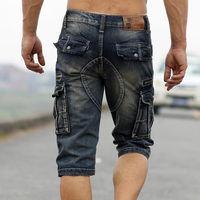 Faded Summer Mens Denim Shorts Retro Vintage Acid Washed Cargo Pockets Military Style Multi Biker Short