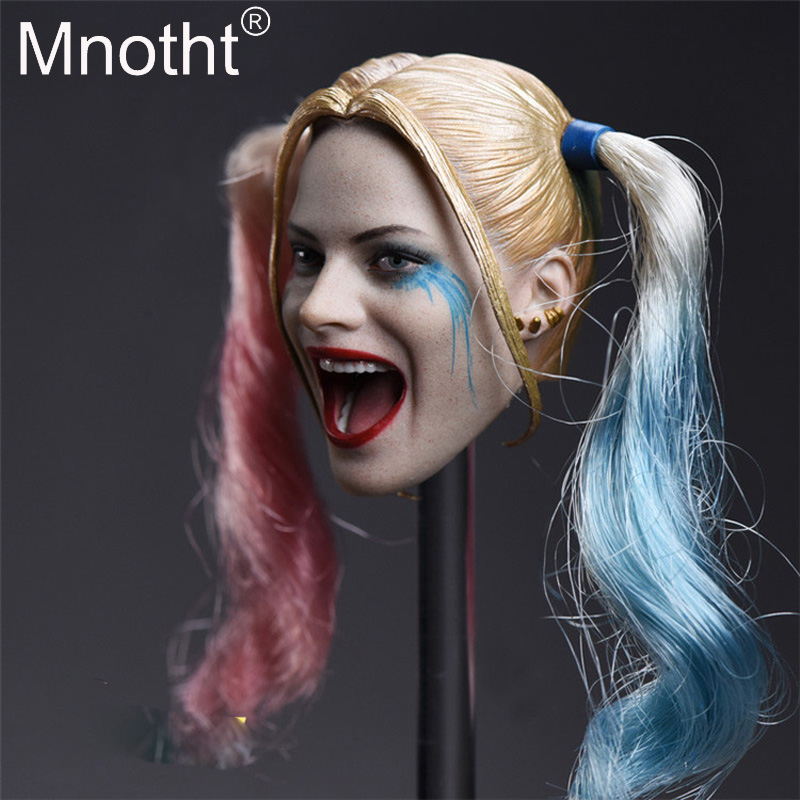 1 6 Scale JX 012 Female Joker Harley Quinn Head Sculpt Model Female Soldier Head Carving