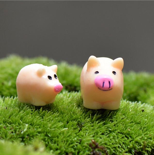 Pig Figures Mother Son Miniature Figurine For Mini Fairy Garden Aquarium  Fish Tank Animal Statue Resin