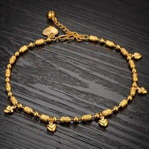 Image 4 - Bracelets de cheville pour bébés filles, Bracelets en or 18Kc, cœur rempli dor, porte bonheur, chaîne de cheville, bijoux à la mode, cadeaux