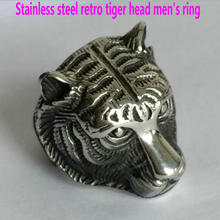 Men's stainless steel ring       Domineering retro tiger head ring       Zodiac animal ring