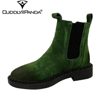 2017 Autumn British Style Chelsea Boots Cow Suede Women Ankle Boots High Quality Platform Nubuck Leather