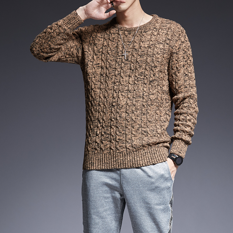 2019 New Autumn Korean Style Casual Mens Clothes Fashion Brand Sweaters Man Pullovers O-Neck Slim Fit Jumpers Knitwear Thick