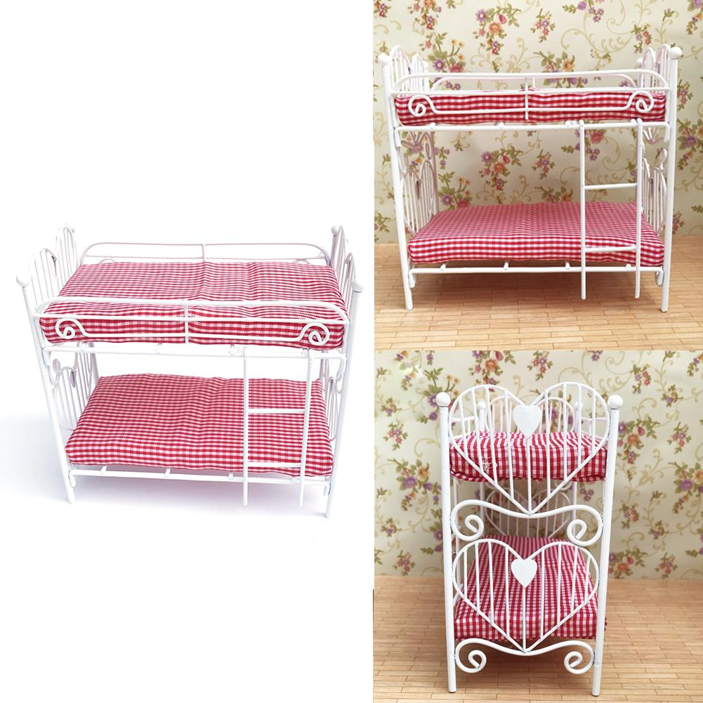 toy for children 1/12 Dollhouse Accessories Mini Furniture Iron Frame Two-layer Bed