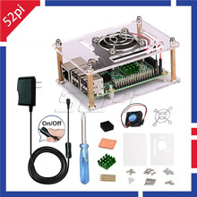 Cheapest prices 52Pi Acrylic Clear Case Enclosure Kit with 5V2.5A Switch Power Supply & Cooling Fan & Heatsinks for Raspberry Pi 3/2 Model B/B+