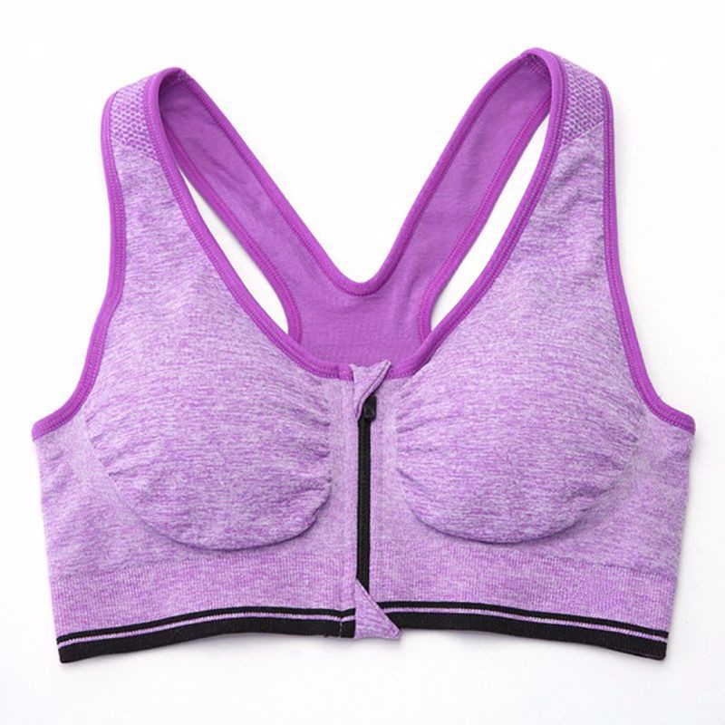 Sexy Women Sport Bra Yoga Top Running Gym Workout Wire Free Front Zipper Fitness Shirt Woman Yoga Vest Sports Bras 12