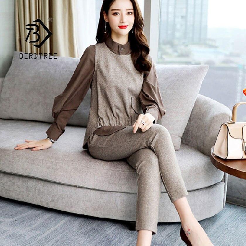 2019 Spring New Women's 3 Piece Sets Long Sleeve Shirt Vest Tops Elastic Waist Pant Suit Elegance Office Lady Hot Sale S94406Z