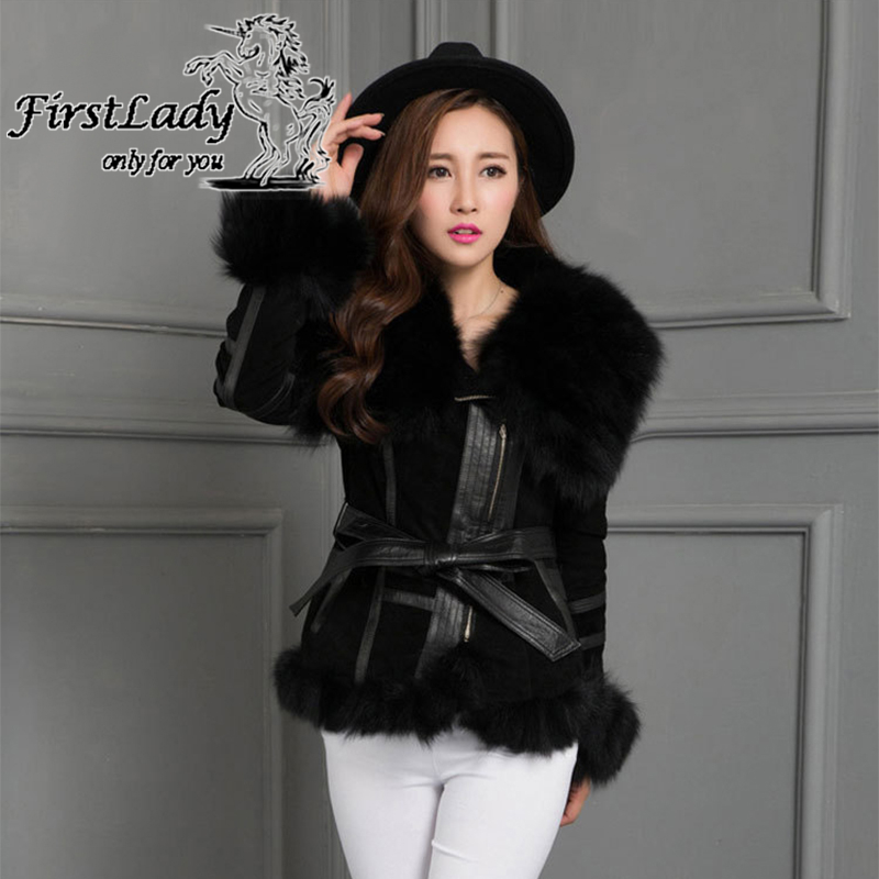 2015 Real Pig Leather Jackets With Genuine Fox Fur