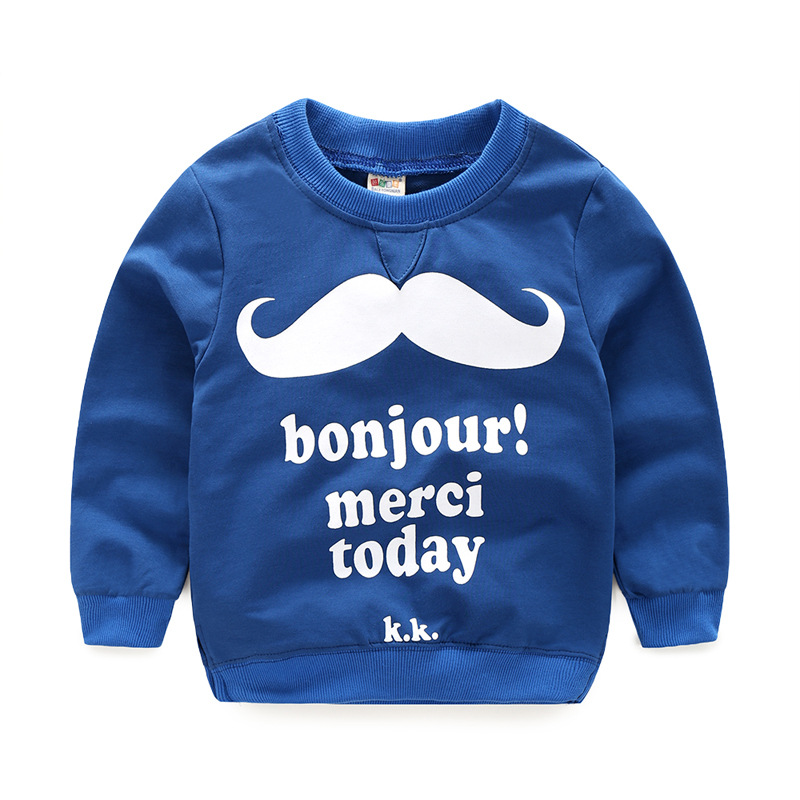 2017 new spring boys girls sweatshirt High quality cotton Moustache hoodies kids Baby costume Childrens clothing
