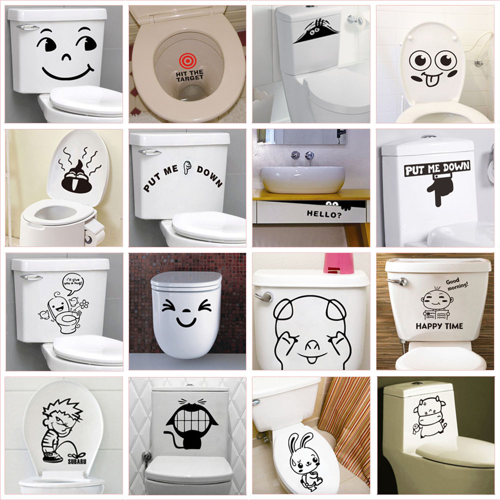 Funny Quotes Pattern Toilet Stickers For Home Decoration Waterproof Vinyl Mural Art Diy 3d View Wc Wall Decals(China)