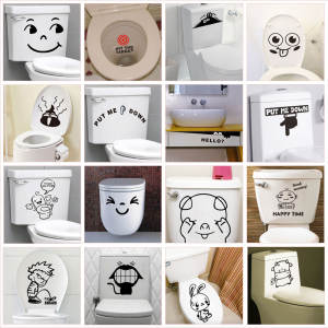 Toilet-Stickers Wall-Decals Mural-Art Funny Home-Decoration Pattern for Waterproof Vinyl